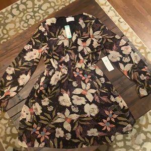 Sheer long sleeve floral dress